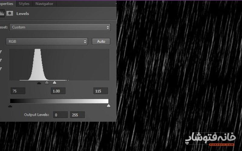 ایجاد افکت باران در فتوشاپ